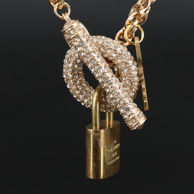 Louis Vuitton Padlock Key on Rhinestone Chain with Pouch