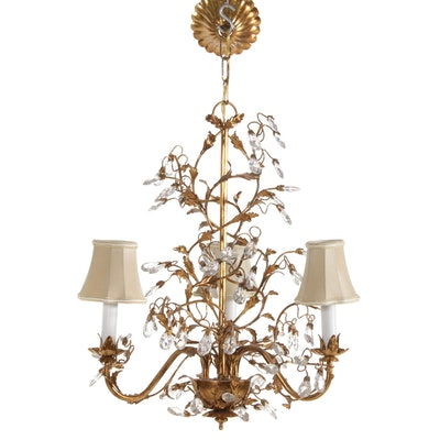 Gilt Metal with Crystal Embellished Chandelier