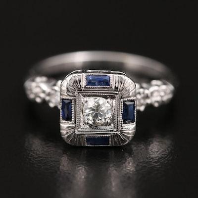 14K Diamond and Sapphire Square Ring