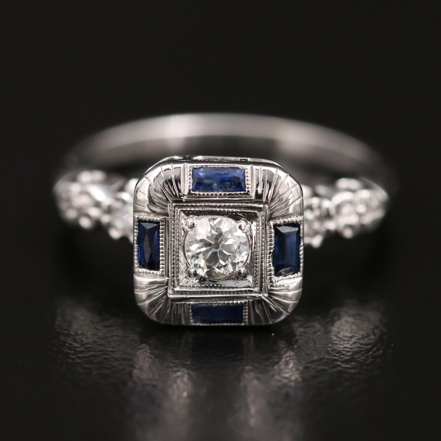 14K Diamond and Sapphire Square Ring