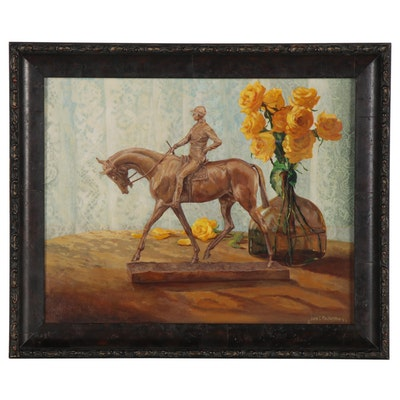 Joan E. MacIntyre Equestrian Oil Painting, 1993