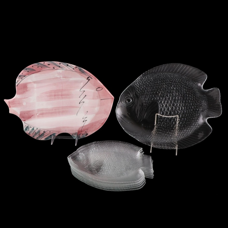 Decorative Ceramic and Pressed Glass Fish Plates, Late 20th Century