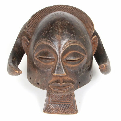 Kuba Inspired Wooden Helmet Mask with Animal Motif, Central Africa