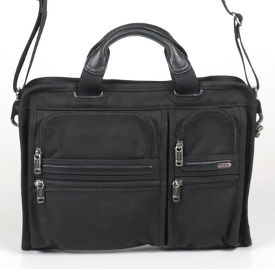Tumi Briefcase in Black Nylon and Leather