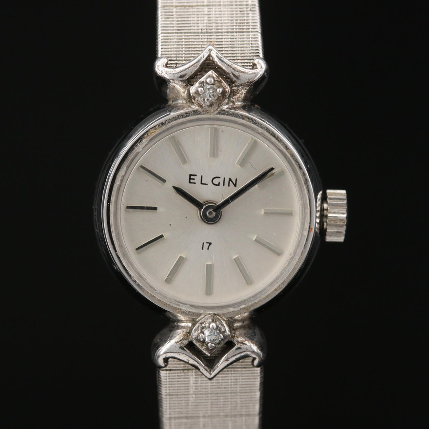 Vintage Elgin Diamond and Rolled Gold Plate Stem Wind Wristwatch