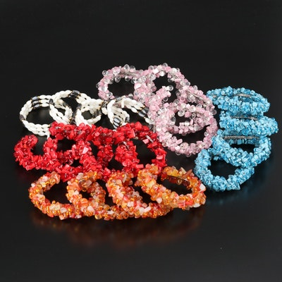 Beaded Bracelets Featuring Coral and Mother of Pearl