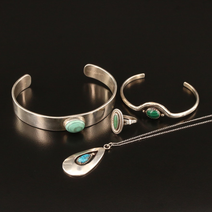 Sterling Silver Jewelry Featuring Bell Trading Post, Malachite and Turquoise