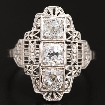 Art Deco Platinum 1.73 CTW Diamond Openwork Ring