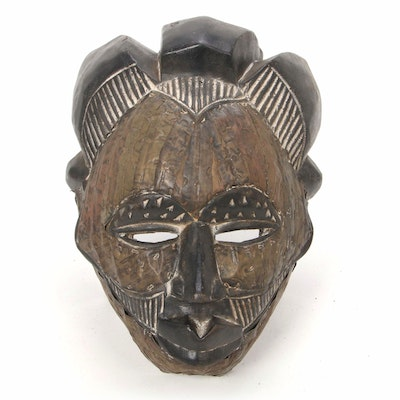 Tikar Style Wood Mask with Metal Embellishments, Cameroon