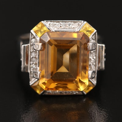 14K Citrine, Sapphire, and Diamond Ring