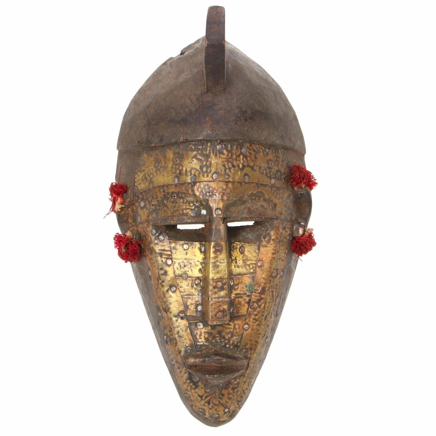 Marka Style Carved Wood Mask with Metal Embellishment, Mali