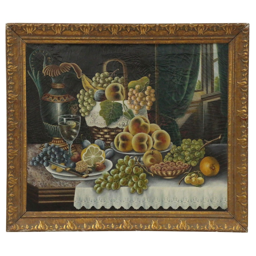 Folk Still Life Oil Painting with Fruit, Late 19th Century