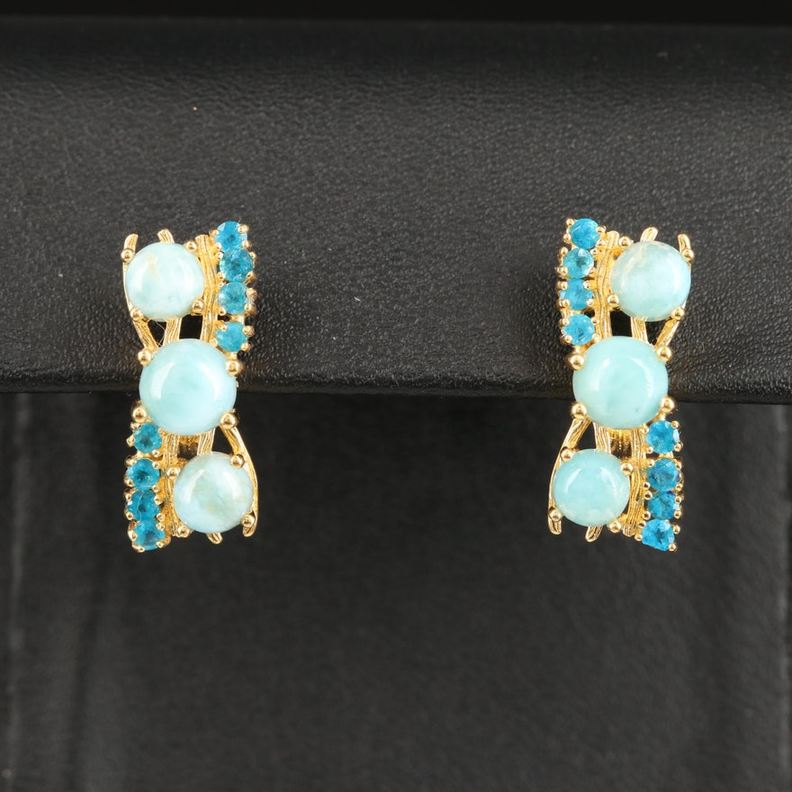 Sterling Silver Larimar and Apatite Earrings