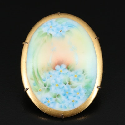 Antique Painted Porcelain Flower Brooch