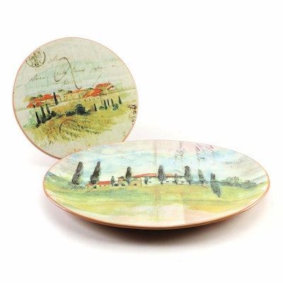 "Williams-Sonoma ""Paysage"" Earthenware Oval Serving Platter with Cheese Plate"