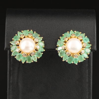 Sterling Pearl, Emerald and Cubic Zirconia Earrings