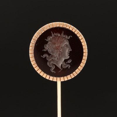 Vintage Intaglio Sard Figural Stick Pin
