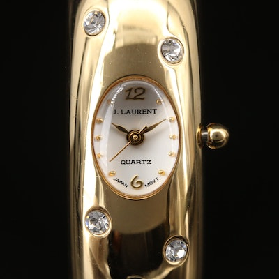 Jacques Laurent Crystal Accented Gold Tone Bangle Wristwatch