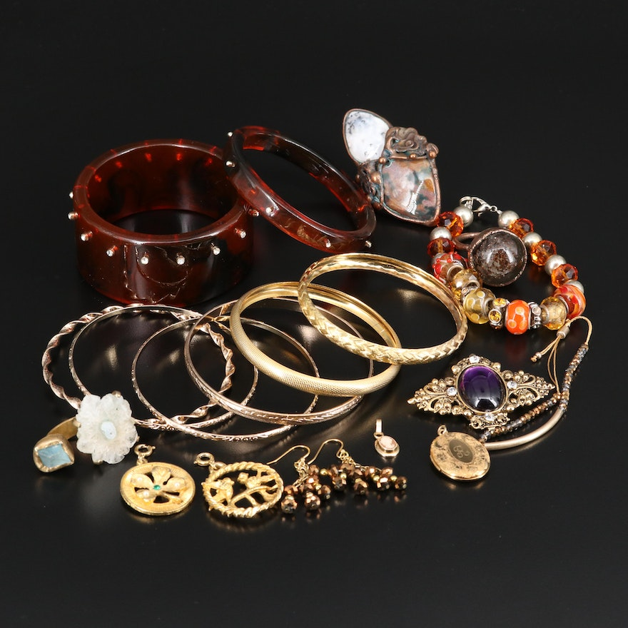 Assorted Jewelry Featuring Agate Rings and Shell Cameo