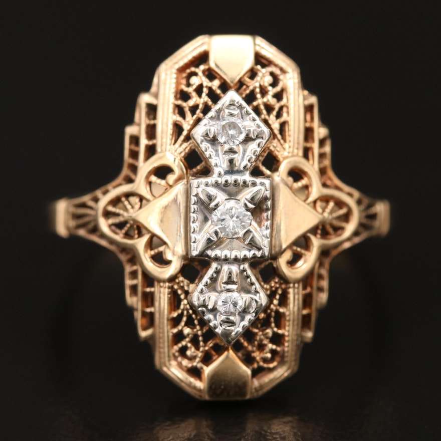 Art Deco Style 10K Diamond Ring