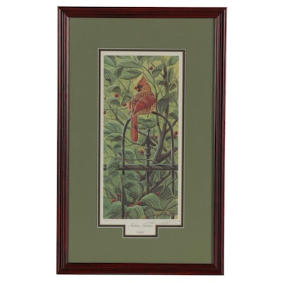 "John A. Ruthven Offset Lithograph ""Indian Summer Cardinal,"" Late 20th Century"