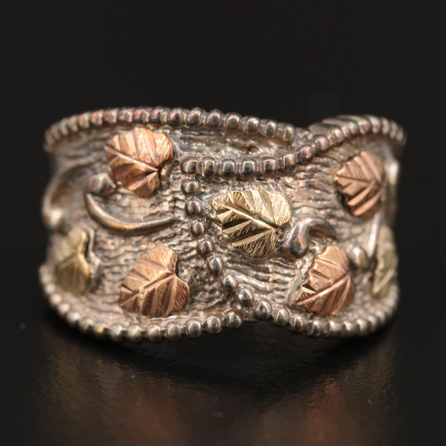 Coleman Black Hills Gold Sterling Silver Ring with 12K Foliate Accents