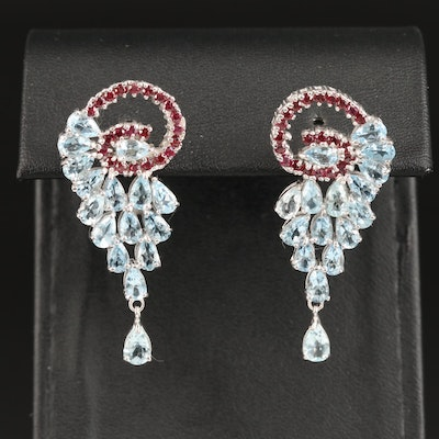 Sterling Silver Aquamarine and Garnet Dangle Earrings