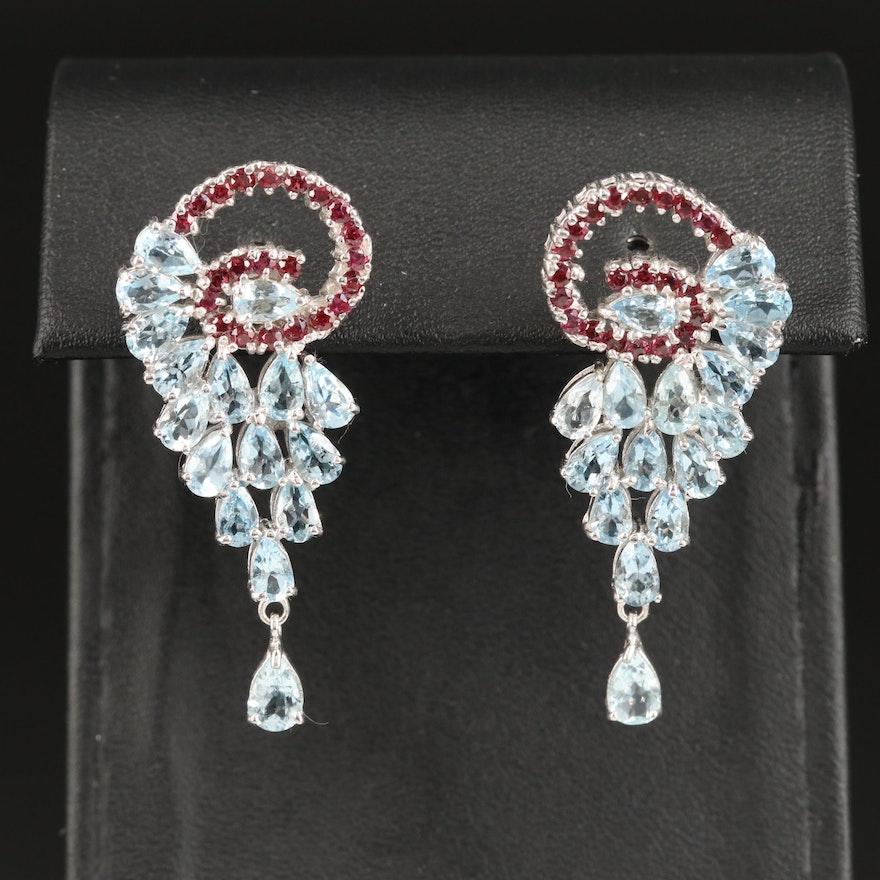 Sterling Silver Aquamarine and Garnet Dangle Earrings