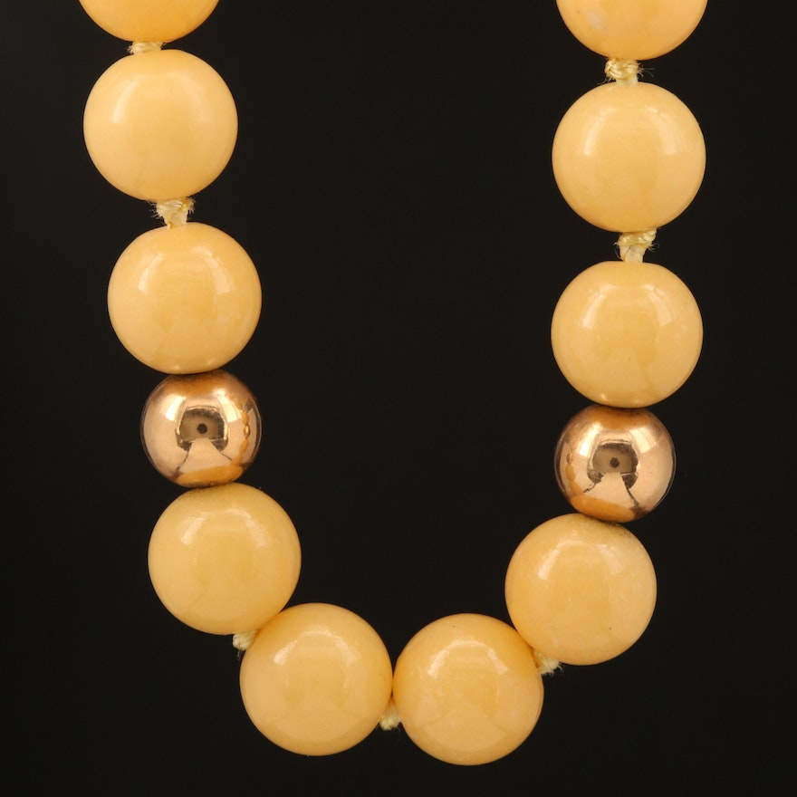 Beaded Quartzite Necklace with 14K Clasp and Accent Beads
