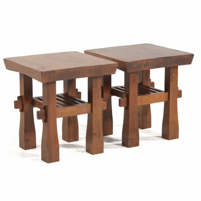 Pair of World Market Hardwood Side Tables, 21st Century