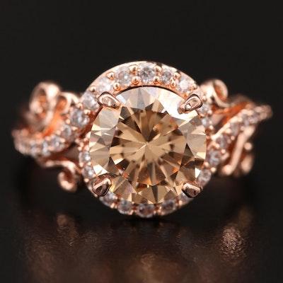Rose Tone Cubic Zirconia Ring