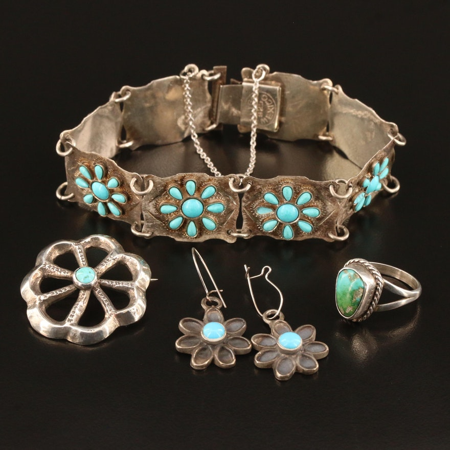 Southwestern Sterling and 800 Silver Genuine and Faux Turquoise Jewelry