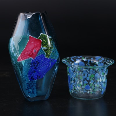 EV Handblown Glass Vase and Other Bowl, Late 20th C.