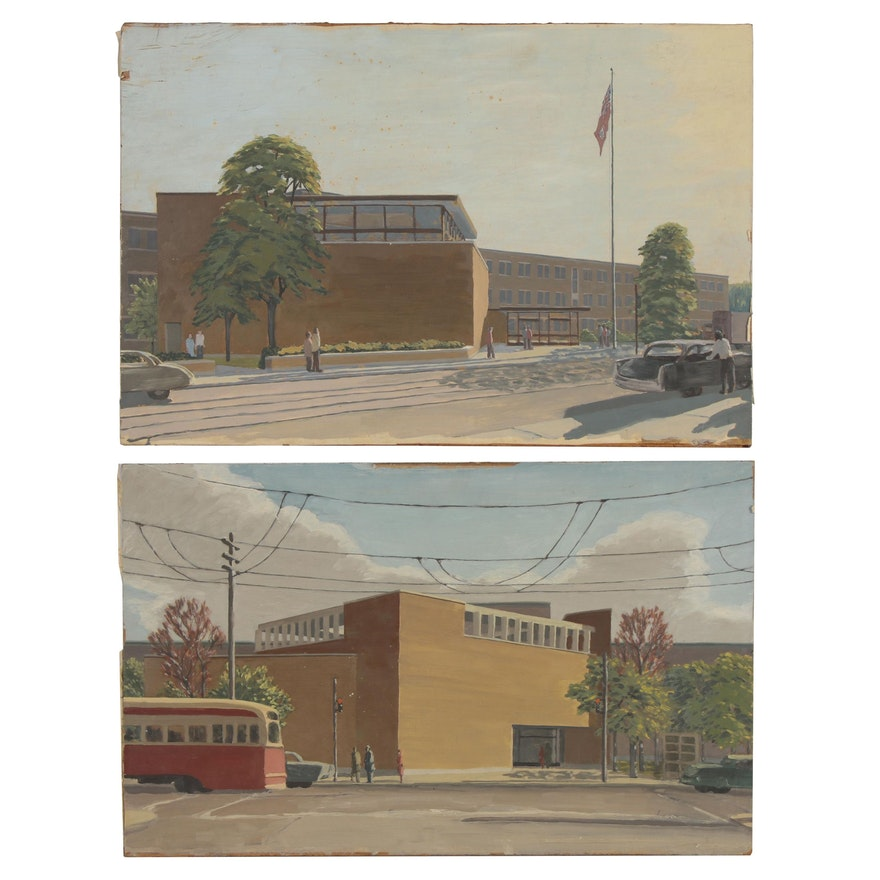 Oil Paintings of School Buildings, Late 20th Century