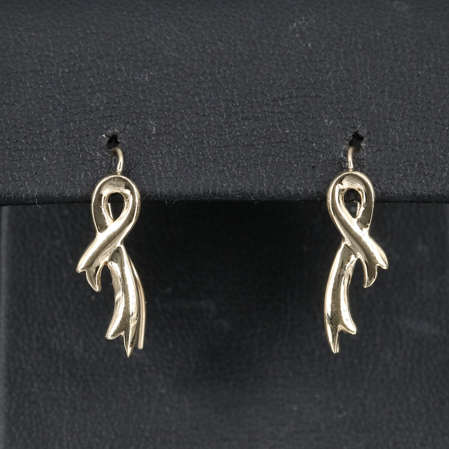 14K Ribbon Drop Earrings