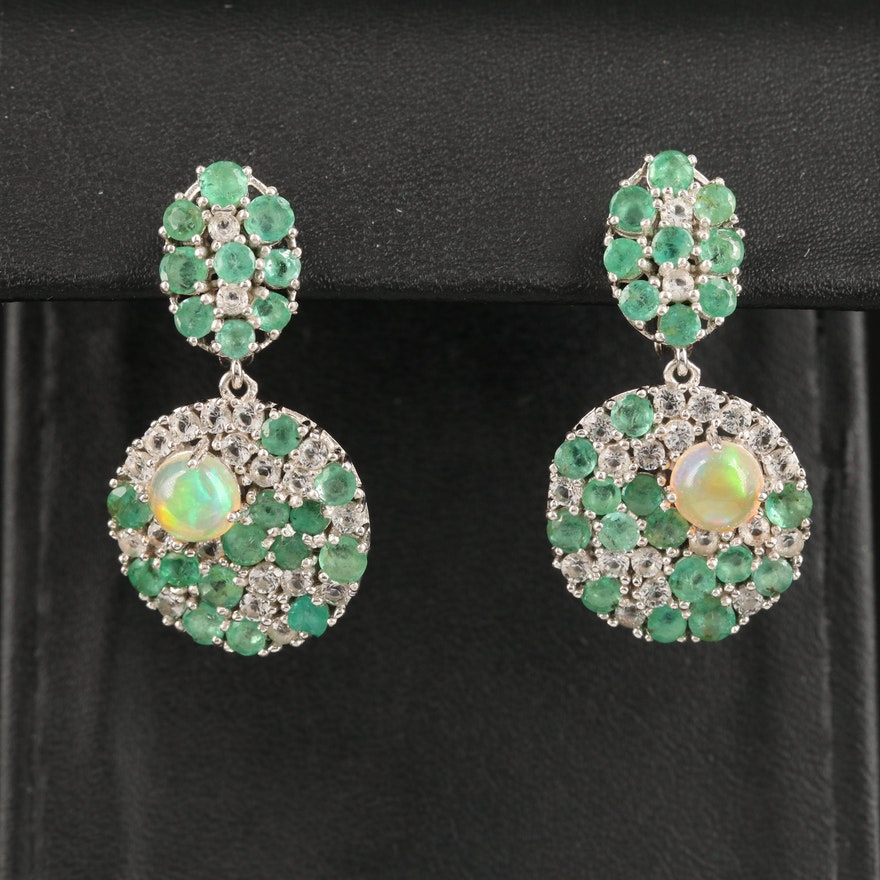Sterling Silver Opal, Emerald and White Topaz Drop Earrings