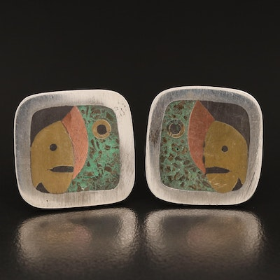 Vintage Taxco Sterling Inlaid Cufflinks