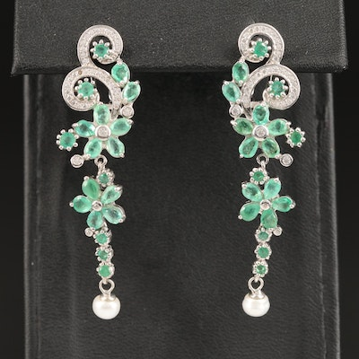 Sterling Silver Pearl, Emerald and Cubic Zirconia Dangle Earrings