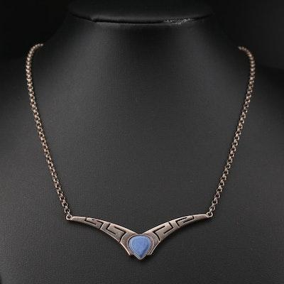 Sterling Lapis Lazuli Station Pendant Necklace