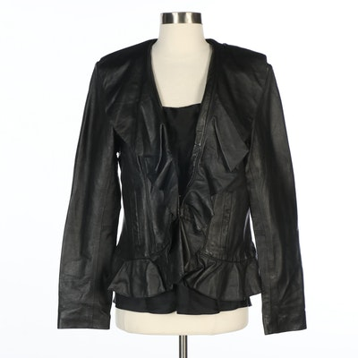 Neiman Marcus Exclusive Black Leather Ruffled Jacket and Silk Sleeveless Top