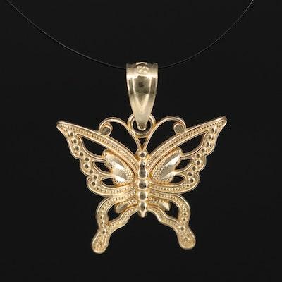 10K Open Work and Milgrain Butterfly Pendant