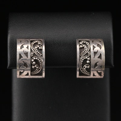 Lois Hill Sterling Filigree Square Button Earrings