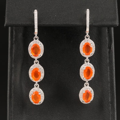 Sterling Silver Fire Opal and Cubic Zirconia Dangle Earrings