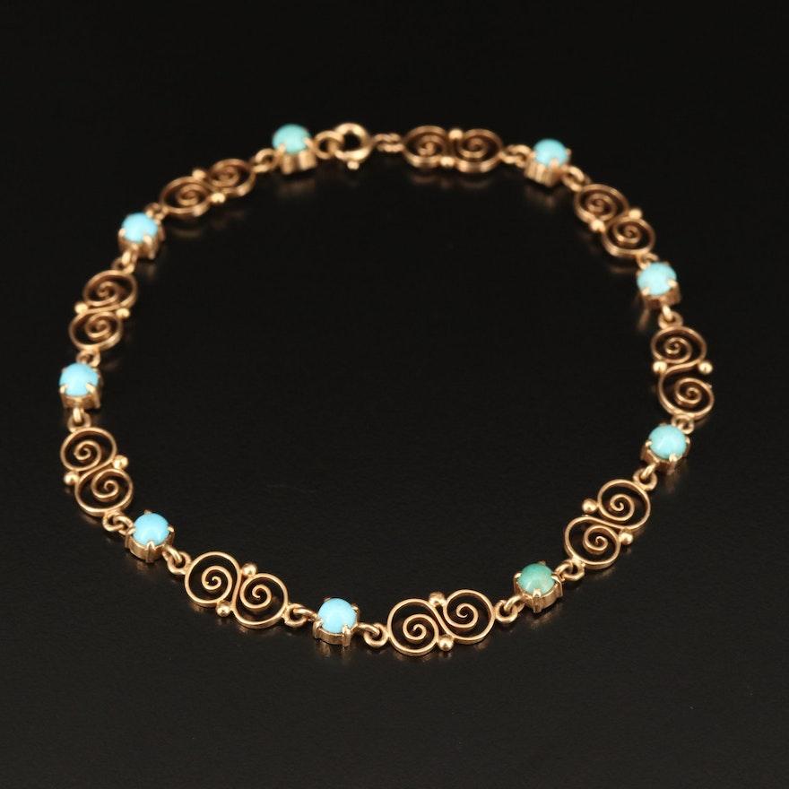 14K Turquoise Scroll Pattern Bracelet