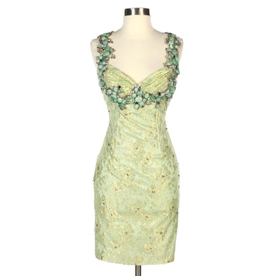 Mandalay Lace and Embellished Cocktail Dress in Mint Green