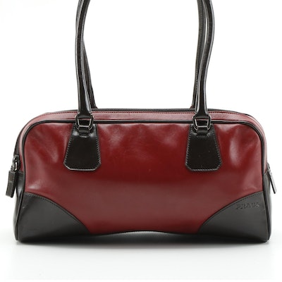 Prada Leather Double Zip Shoulder Bag in Red and Dark Brown