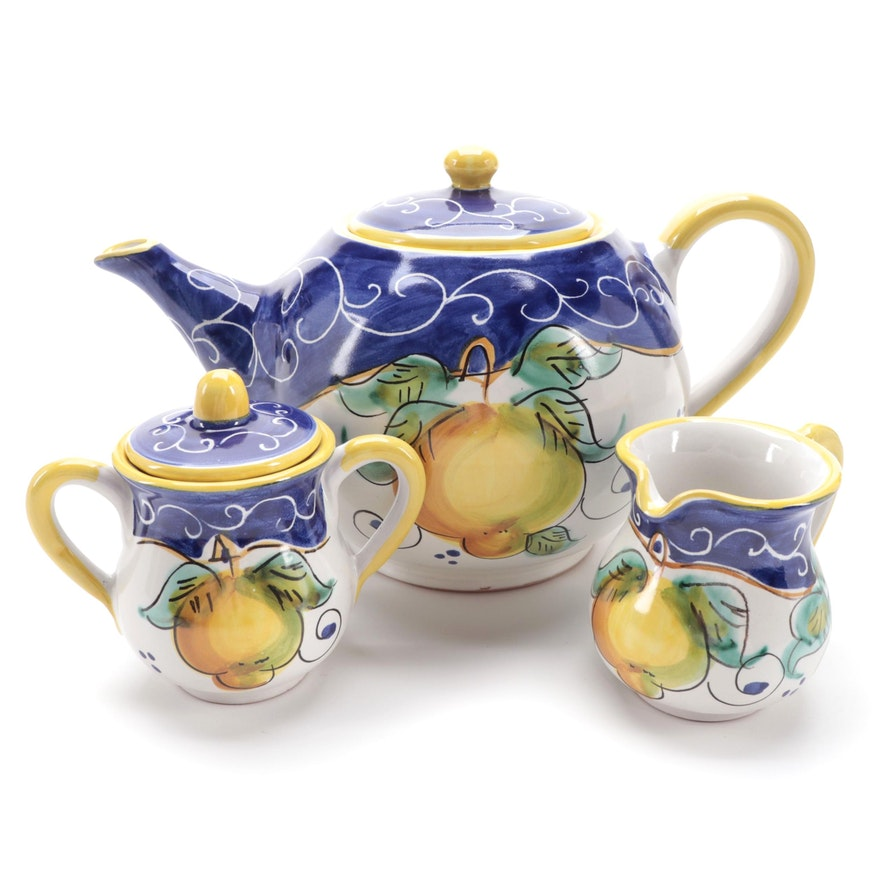 Italian Ceramica Artistica Three-Piece Tea Set