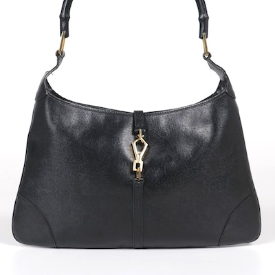 Gucci Bamboo Handle Jackie Shoulder Bag in Black Leather
