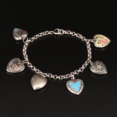 Vintage Sterling Heart Charm Bracelet
