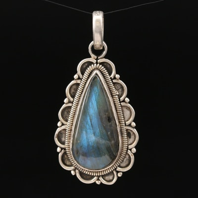 Sterling Silver Labradorite Teardrop Pendant with Scalloped Edges